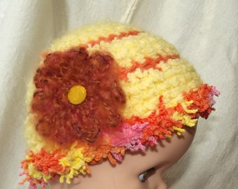 Crochet Baby Hat Girl Infant Soft Furry Cap Mod Bright Yellow Orange Pink Hippie Fringe Removable Flower