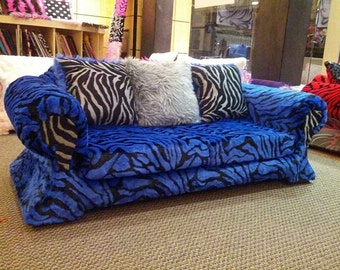 cobalt blue zebra fur couch for any age