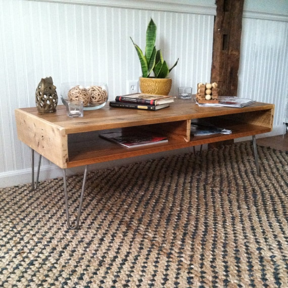 Reclaimed Wood Coffee Table Hairpin Leg Console By