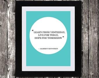 "Albert Einstein Quote, Printable Art, Science Quote, Einstein quote wall art, Typography, Choose Background Color, 8 x 10"""