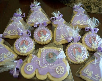 18 pcs. SOfia The First Theme Cookies. 3 different designs.