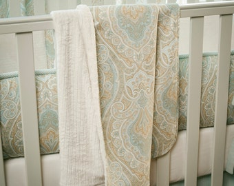 Neutral Baby Crib Bedding / Boy Baby Crib Bedding / Girl Baby Bedding: Blue and Taupe Paisley Crib Blanket by Carousel Designs