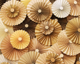 40pc Set of  tan ivory cream tan  Paper Pinwheel's Rosette paper Flower Party Decoration wedding birthday shower pinwheel decour pinwheels