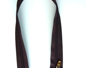 "18"" Dark Brown Nylon Coil Zipper- Gold zipper pull"