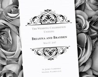 Printable Wedding Program Template Grace Black Silver