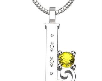 """BirthStone Letter I November Topaz 925 Solid Sterling Silver Pendant &18"""" Necklace"""