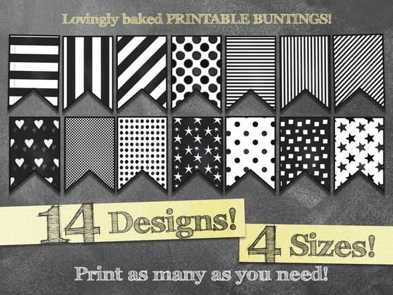 Printable Bunting Banner In Black Amp White Stripes Dots