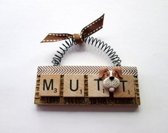 Mutt Dog Scrabble Tile Ornament