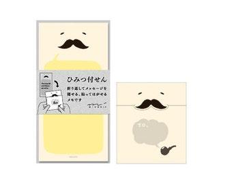 "Moustache Secret Sticky Notes ""Himitsu Fusen"" - Made by Midori, Japan - Memo Bookmark Post-it"
