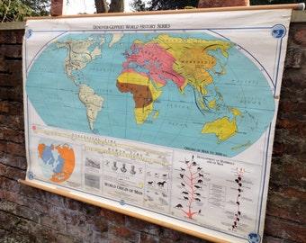 Vintage Mid Century World Series Origins Of Man USA School Map / Wall Chart