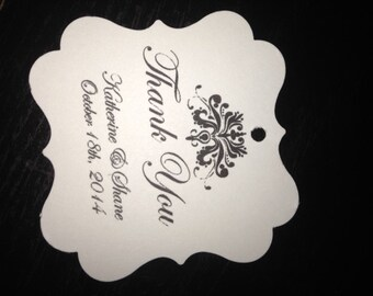 Elegant Square Damask Personalized Wedding Favor Thank You Tags