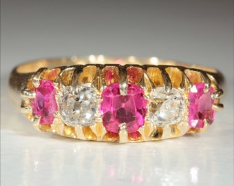 Antique 18k Ruby and Diamond Ring Hallmarked Birmingham, 1902
