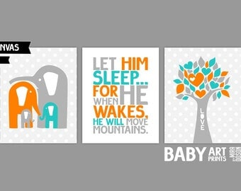 Orange Teal Grey Baby Boy Nursery canvas art, Set of 3 8x10. Elephant, Love Tree, Let him sleep... ( S810011 )
