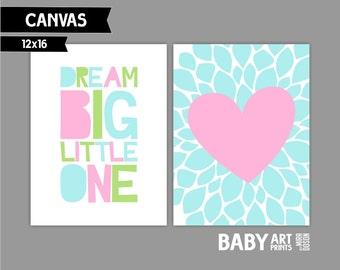 Baby Girl Nursery canvas art, Set of 3 12X16. Dream Big Little One ( S1216008 )