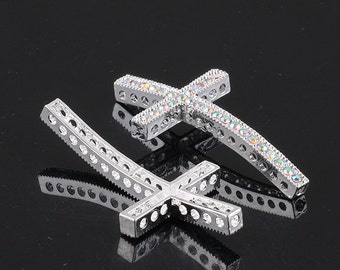 5Pcs Of 25x49mm White AB Crystal Silver Plated Curved Sideways Cross Bracelet Connector Beads Findings
