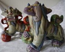 Chinese Antique Porcelain Foo Dog Fiqurines