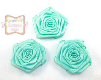 Aqua Satin Rolled Rosette 3 Pieces #D140