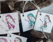 Set of Original SnowmenDrawing Holiday Gift Tags