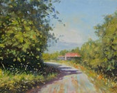 Original art oil painting canvas on board - Countryside roads of Aix en Provence, French landscape oil painting