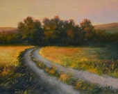Original oil painting, Evening walk - Countryside of Aix en Provence, hay field - French impressionist style Landscape oil painting