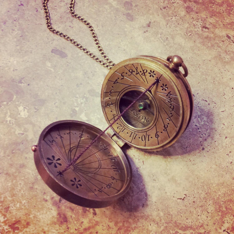 Thread Sundial / Compass Necklace Antique Brass Nautical