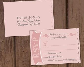 Chalkboard Wedding Invitation Reply Postcard