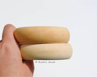 Set of 3 Unfinished Wooden Bangles - Wood, Natural, DIY, Jewelry Supply Blanks