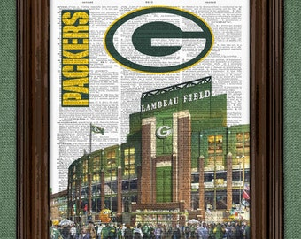 Green Bay Packers Dictionary Art Print - Lambeau Field Stadium upcycled dictionary page book art print. Mancave gift Buy any 3 get 1 free!