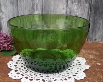 Antique Green Blown Glass Finger Bowl 1850's Vintage