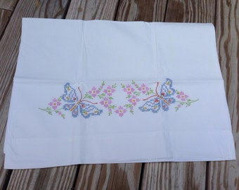 Vintage Embroidered Blue Butterflies and Pink Flowers Pillowcase