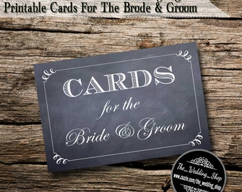 "Instant Download- 4"" x 6"" Printable PDF Chalkboard Style DIY Wedding Sign: Cards For The Bride & Groom"