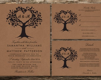 Printable Wedding Invitation Set - Invitation - RSVP Card - Details Card - DIY Wedding - The Heart Tree Collection Design