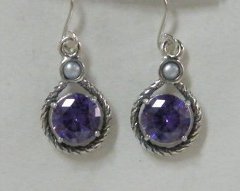 NEW Sterling Silver Double Stone Earrings With Amethyst CZ And Pearl