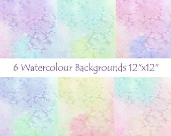 "Watercolour Background Digital Papers, 12""x12"" printable, Personal and Commercial Use"