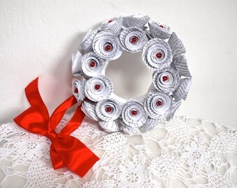 White wreath, book page, rosette wreath, wedding decoration, paper flower, door wreath, Christmas, recycled paper, Valentine's day