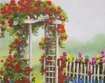 Summer Rose Arbor with picket fence and hollyhocks