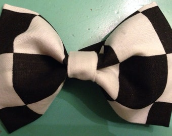 Baby boy bow tie-black and white checkered-clip-on