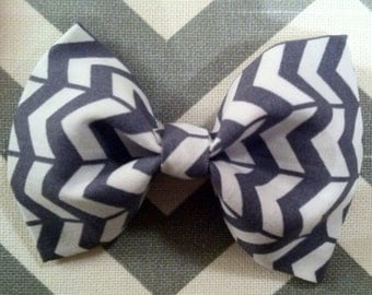 Baby boy bow tie-Gray and White Chevron-Clip-on-newborn-infant-toddler