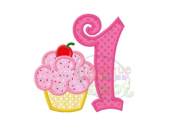 Cupcake First 1st Birthday Girl 1 - 4x4 5x7 6x10 Applique Design Embroidery Machine -Instant Download File