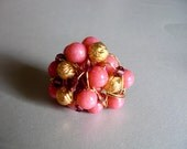 Beautiful Rose Pink Ring/ Statement Golden Ring/ Wire Wrapped Ring/ Beaded Golden Ring/ Baroque Elegant Ring/ Handmade Unique Designed Ring - Nimmet