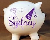 "8"" Princess Piggy Bank with Custom Vinyl Decal -Personalized Piggy Bank, Girls Room, Baby Girl Gift, Extra Large Ceramic Pig, Girls Birthday"