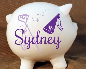 "8"" Princess Piggy Bank with Custom Vinyl Decal -Personalized Piggy Bank, Girls Room, Baby Girl Gift, Extra Large Ceramic Pig, Girls Birthday"