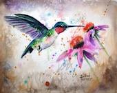Ruby-throated Watercolor Hummingbird, Original Watercolor Painting Print Watercolor Original Hummingbird Painting wall decor 8 x 10