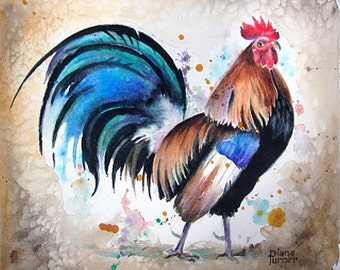 ROOSTER WATERCOLOR PAINTING Art Print from my original watercolor painting of a rooser,Wall Art 8 x 10