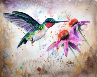Ruby-throated Hummingbird Watercolor Original Watercolor Painting Print Watercolor Original Hummingbird Painting wall decor 8 x 10