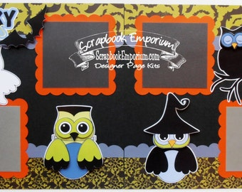 Scrapbook Page Kit Halloween Owls 2 page Scrapbook Layout 110P