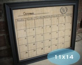 Dry Erase Calendar on Burlap 11x14 with Monogram , Monogram Dry Erase/Wet Erase Burlap Calendar , Select With OR Without Frame