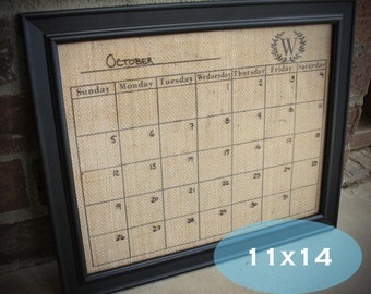 dry erase calendar on burlap 11x14 with monogram monogram dry erasewet erase burlap calendar select with or without frame