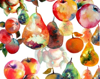 Apples and Pears Clip Art Collection,   12 Fruit Elements,  36 Files in Total