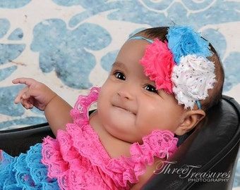 Hot pink and turquoise lace petti romper - pink and turquoise lace romper - 1st birthday outfit